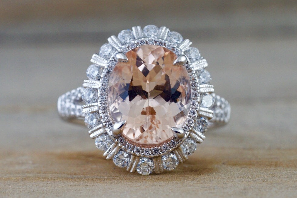 11x9mm 18k White Gold Oval Morganite Diamond Halo Split Shank Ring 11x9 - Brilliant Facets