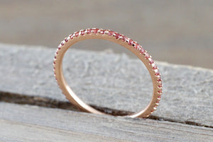 14k Rose Gold Peach Sapphire Dainty Thin Eternity Band Wedding Engagement Stackable Ring - Brilliant Facets