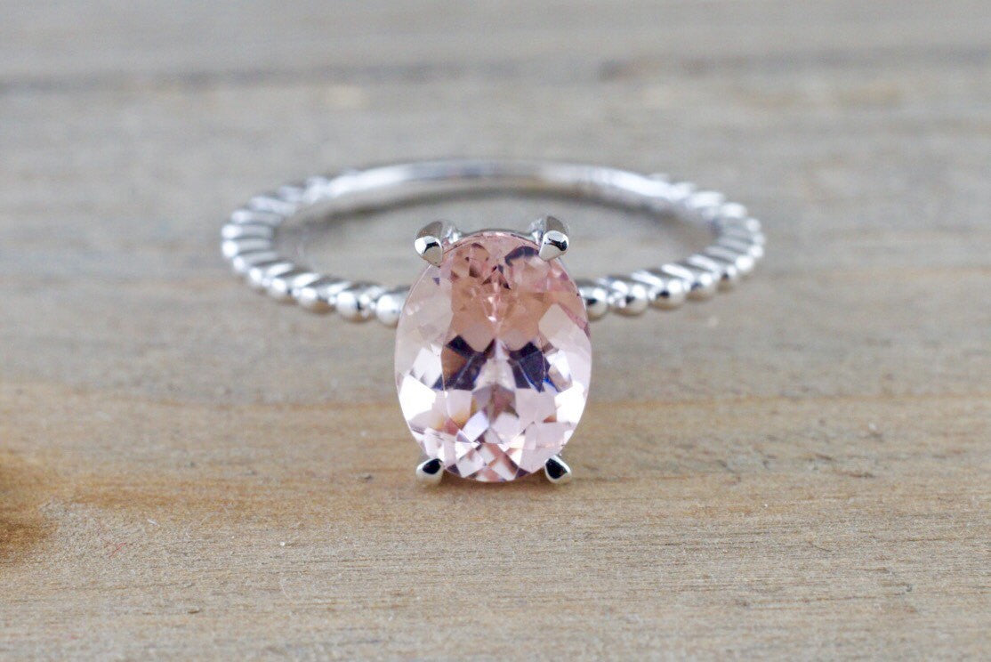 1.85 cts 14k White Gold Elongated Oval Cut Pink Peach Morganite Prong Engagement Promise Ring Rope - Brilliant Facets