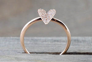 14k Rose Gold Diamond Micro Pave Heart Anniversary Promise Love Ring Band Fashion - Brilliant Facets