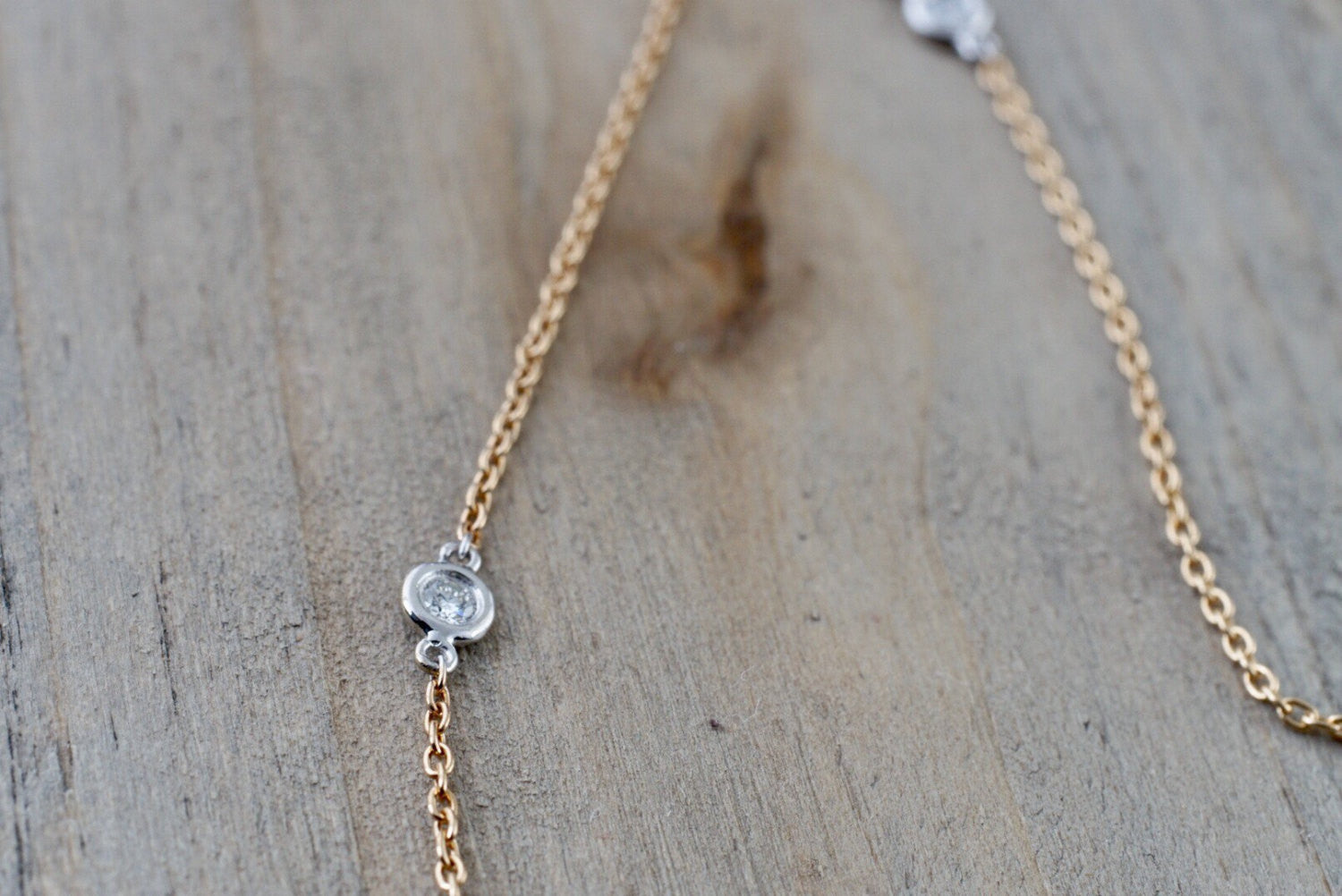 18k Rose and White Gold 5 Diamond Necklace Chain Dainty 16inches