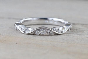 14k Gold Vintage Vine Filigree Dainty Diamond Milgrain Band Ring RR010011