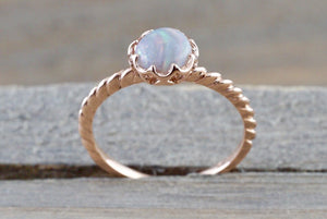 Melrose Fire Opal 14k Rose Gold Round Purple Engagement Rope Crown Solitaire