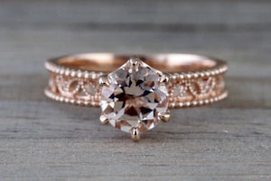 Vignes 14k Rose Gold Round Morganite Ring Vintage Vines 7mm