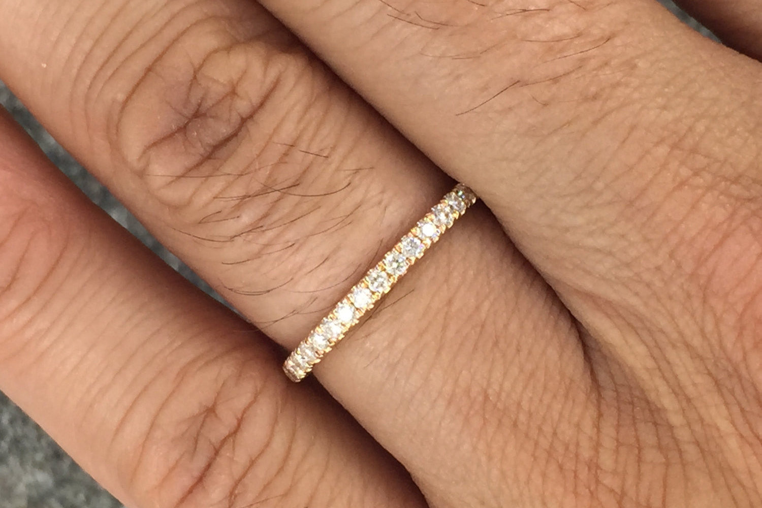 14k Rose Gold Dainty Thin Diamond Engagement Wedding Band Ring Brilliant Cut - Brilliant Facets