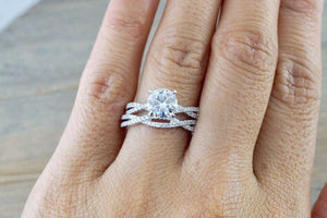 Forever One Moissanite 14k White Gold 7mm Round Diamond Engagement Ring Charles & Colvard
