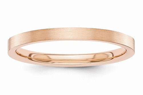 14kt Solid Rose Gold Satin Finish Flat Design Bridal Engagement Wedding Band 2mm Width