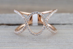 Fashion Art Deco Cross 14k Rose Gold Diamond Love Promise Ring Band Shaped Large Fashion 0.30 carats