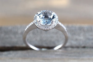 8mm 14k White Gold Thin Round Diamond Halo Blue Aquamarine Ring Band