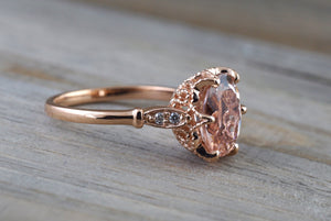 14k Rose Gold 10x8mm Oval Morganite Round Cut Diamonds Art Deco Vintage Design Ring - Brilliant Facets