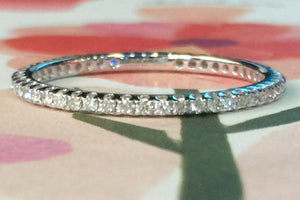 18k White Gold Dainty Thin Diamond Eternity Band Brilliant Cut