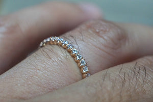 14k Rose Gold Eternity Diamond Vintage Milgrain Classic Full Eternity Band Ring Engagement Wedding - Brilliant Facets