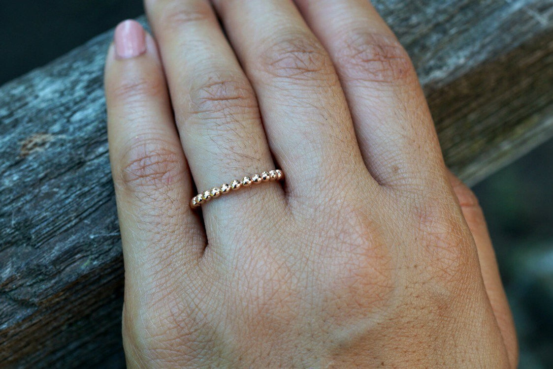 14kt Rose Gold 2mm Bead Ball Rope Stackable Engagement Wedding Ring
