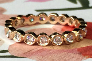 14k Rose Gold Diamond Vintage Milgrain Bezel Full Eternity Band Ring Wedding - Brilliant Facets