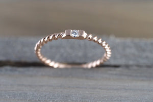 14k Solid Rose Gold Past Present Future Stackable Diamond Hammered Textured Twist Braided Ring - Brilliant Facets
