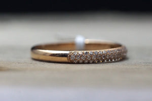 14k Rose Gold Micro Pave Dome Design Dainty Thin Diamond Engagement Band Brilliant Cut - Brilliant Facets