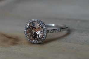 8mm Morganite 14k White Gold Round Pink Peach Diamond Halo Engagement Ring