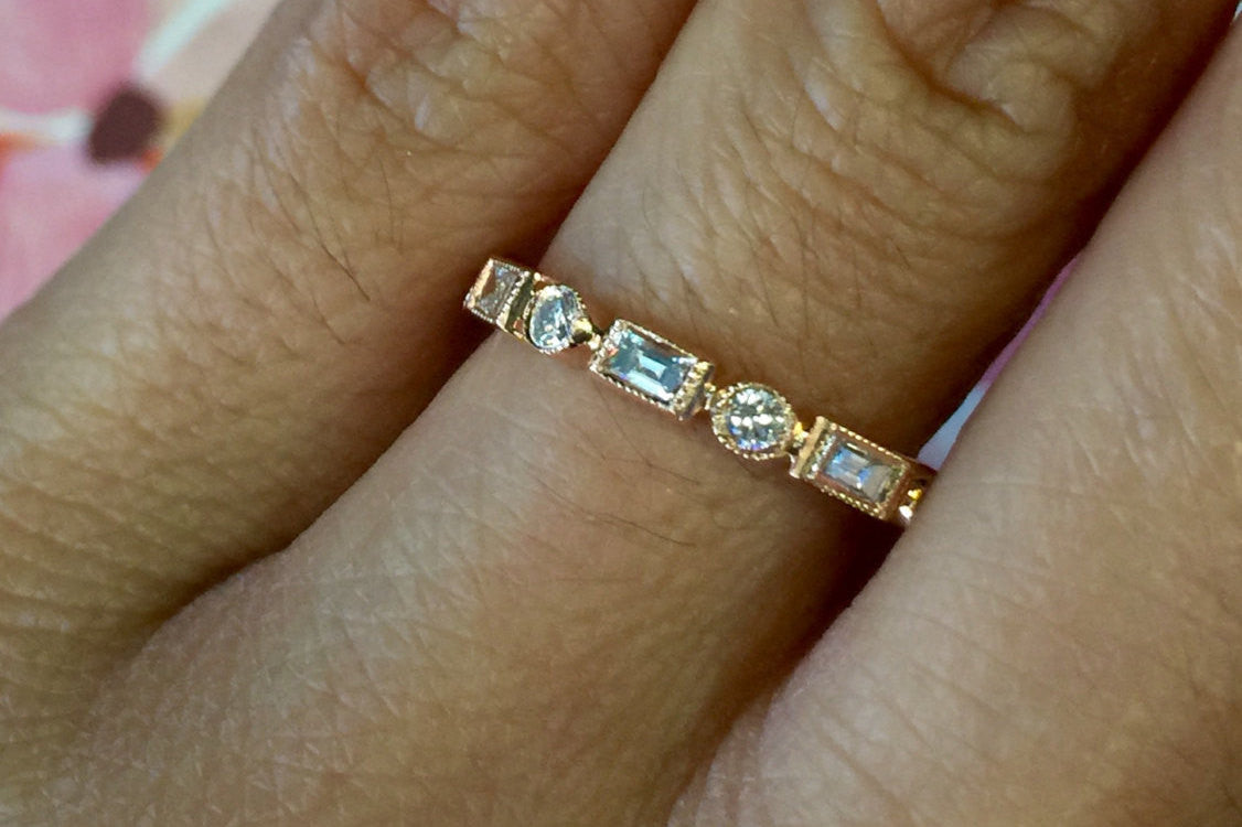 half white prong bands band eternity set rose ring sapphire gold product