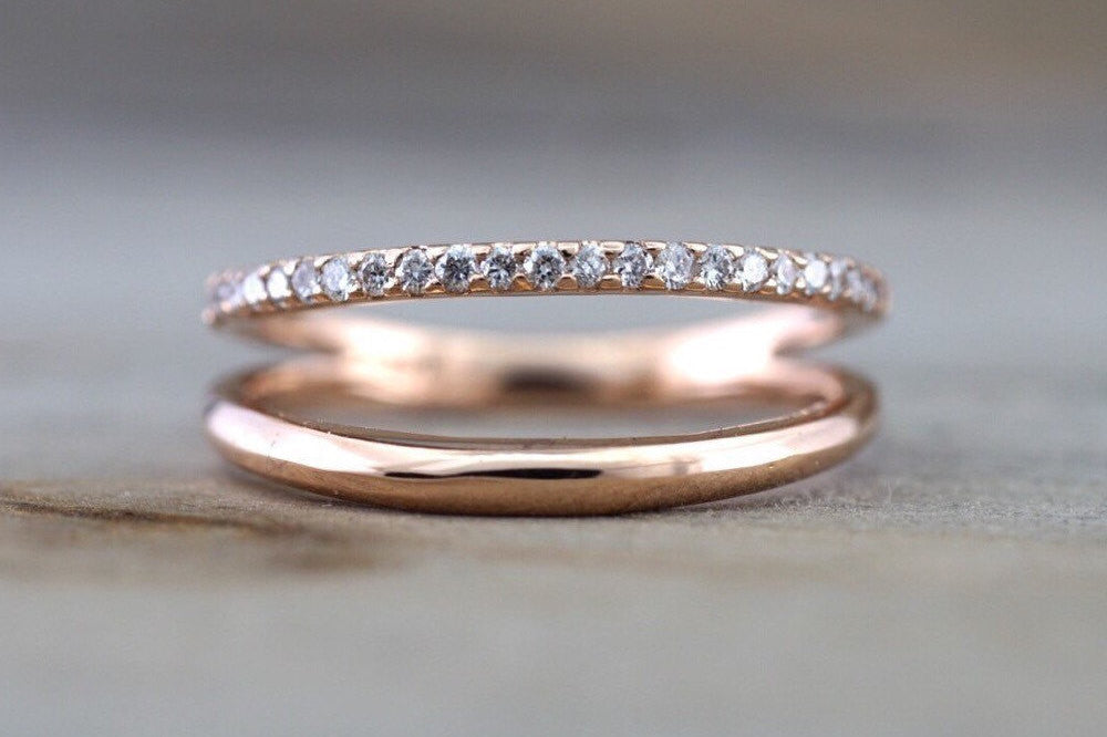 14kt Rose Gold Diamond Ring Band Stackable Dainty