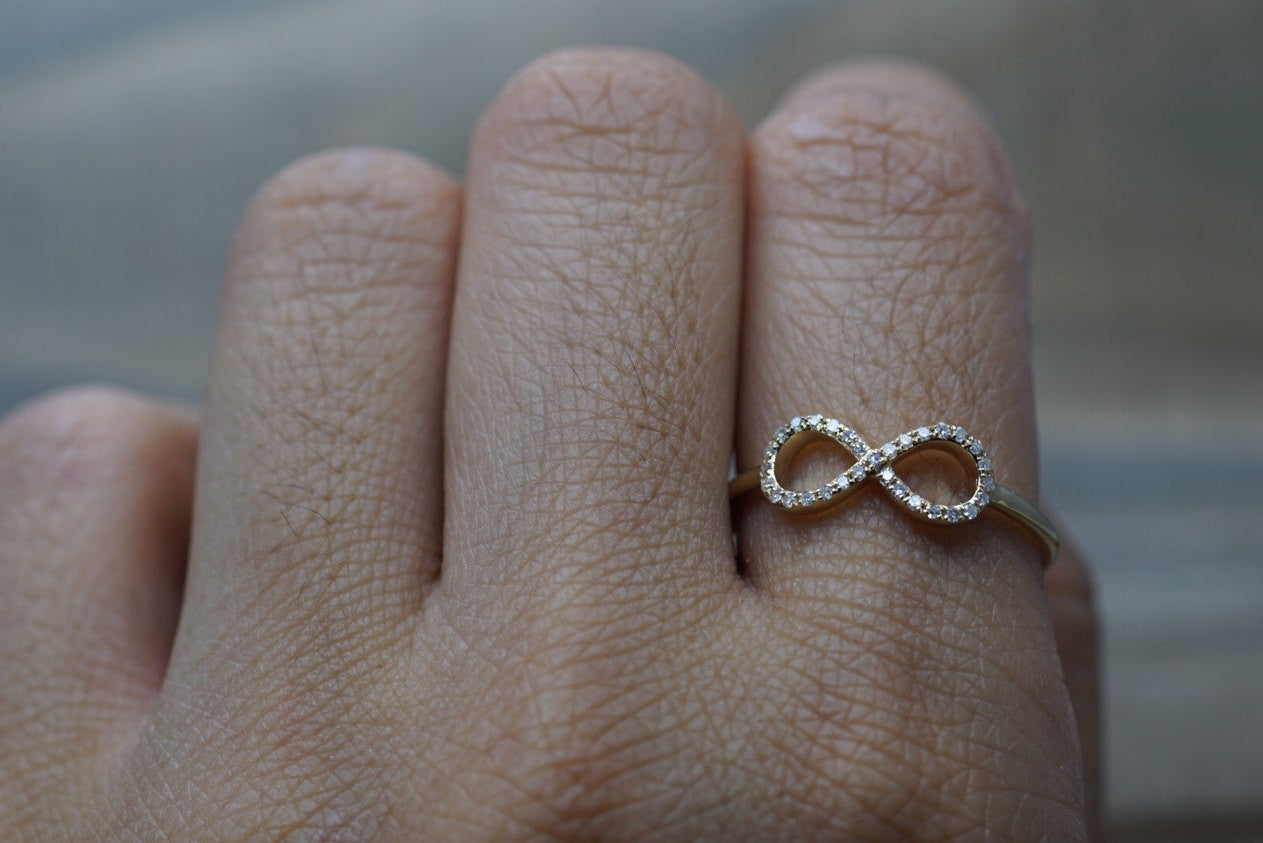 14k Yellow Gold Diamond Pave Polished Infinity Love Symbol Ring Band