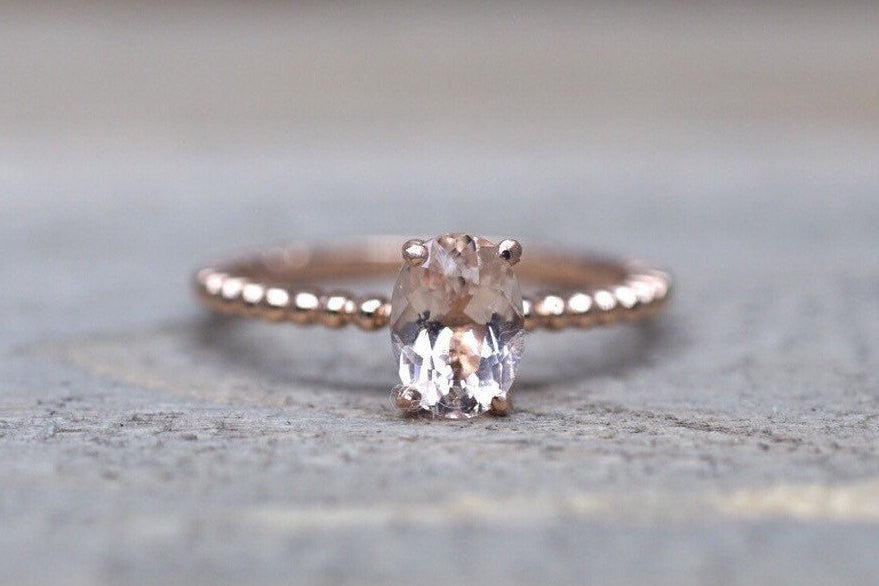 14k Rose Gold Elongated Cushion Cut Morganite Engagement Promise Ring Bead Vintage - Brilliant Facets