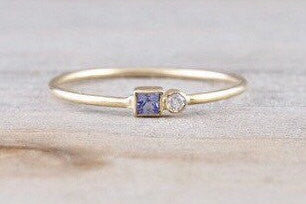 14k Yellow Gold Diamond Tanzanite Ring Dainty Band Bezel Birthstone Gemstone Stackable