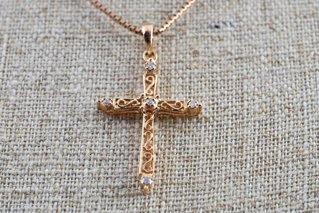 14k Rose Gold Diamond Filigree Milgrain Vintage Inspired Cross Pendant - Brilliant Facets