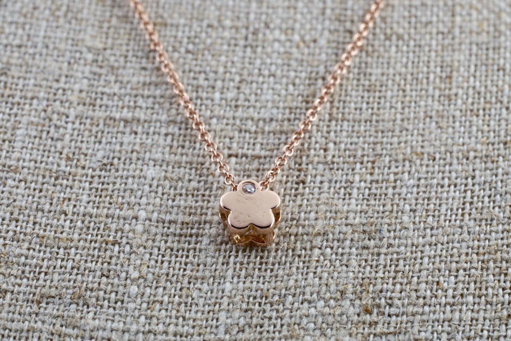 14k Rose Gold Small Flower Clover Diamond Pendent Slider - Brilliant Facets