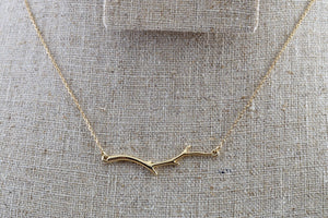 14k Yellow Gold Branch Necklace Pendant Leaf