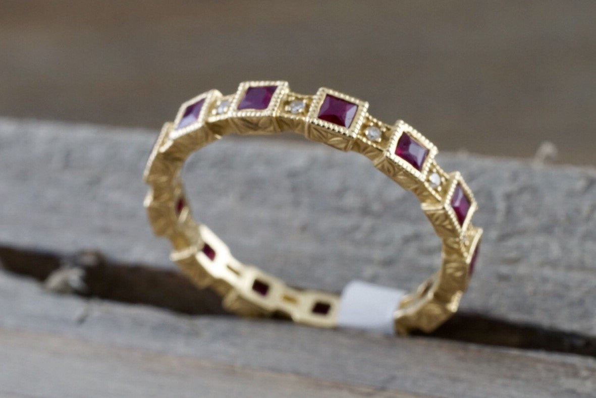 14k Yellow Gold Square Princess Cut Red Ruby Eternity Gemstone Diamond