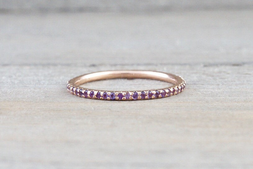 14k Rose Gold Purple Amethyst Dainty Eternity Band Wedding Anniversary Engagement Ring - Brilliant Facets