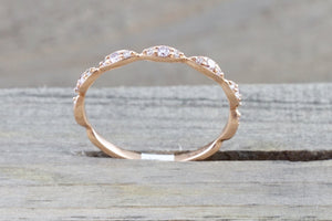 14kt Rose Gold Diamond Ring Marquis Vintage Rope Milgrain  Stackable
