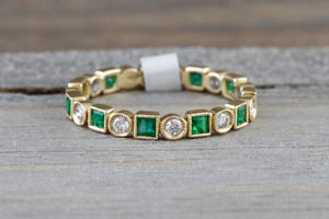 14k White Gold Square Princess Cut Emerald Diamond Vintage Antique Classic Band Ring