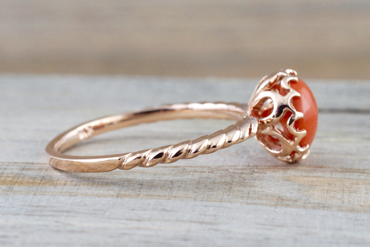 Mandi Coral 14k Rose Gold Round Engagement Promise Ring Anniversary Wedding Crown