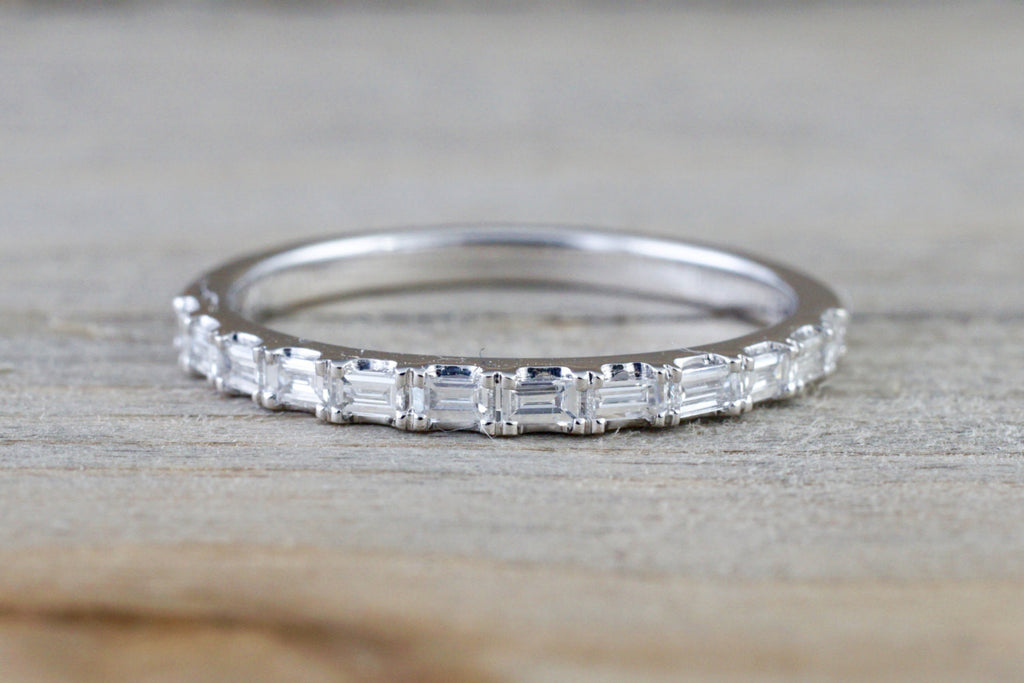 14k White Gold Dainty Thin Baguette Cut Rectangle Diamond Band Stackable Design Classic - Brilliant Facets