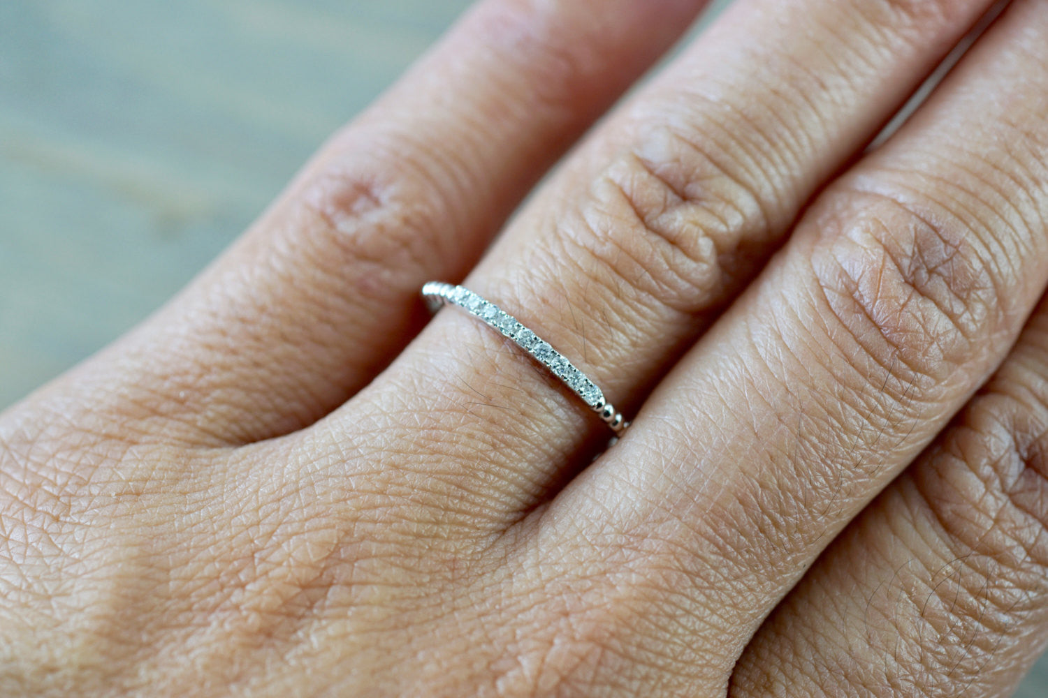 14kt White Gold Thin Diamond Ring Band Wedding Engagement Stack Dainty