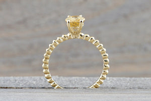 14k Yellow Gold Oval Imperial Topaz Engagement Ring Rope Bead Vintage Stackable