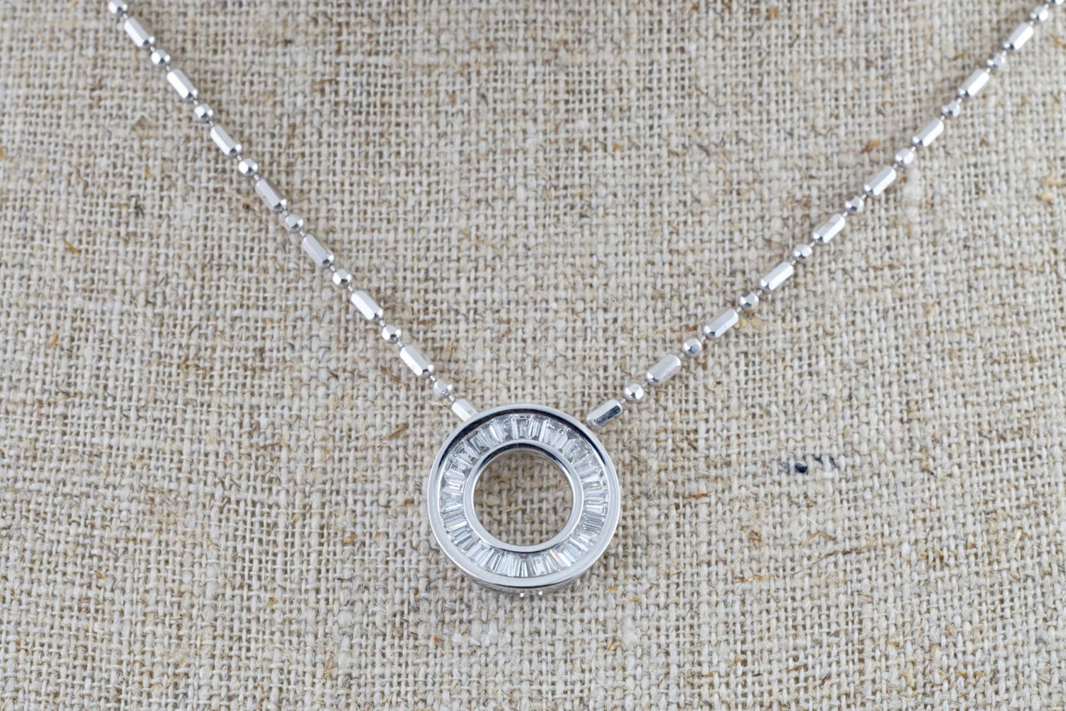 18k White Gold Baguette Slider Circle Disc Disk Diamond Invisible Necklace Pendant Charm