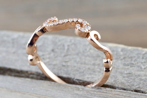 14k Rose Gold Diamond Pave Ring Band Promise Anniversary Rope - Brilliant Facets