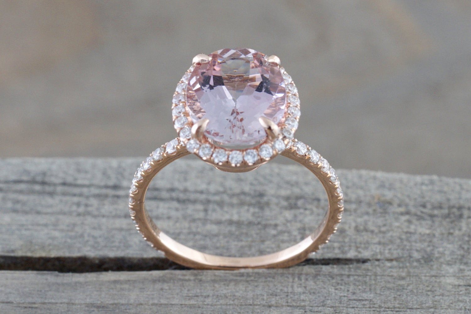 14k Rose Gold Oval Morganite Diamond Halo Dainty Eternity 3/4 Engagement Ring Vintage - Brilliant Facets