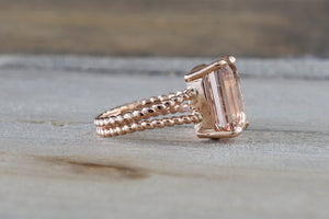 14k Rose Gold Elongated Emerald Cut Morganite Split Shank Rope Engagement Ring Bead - Brilliant Facets
