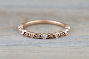 14k Rose Gold Diamond Vintage Milgrain Etch Etching Ring Antique Half Eternity Filigree Dainty Band - Brilliant Facets