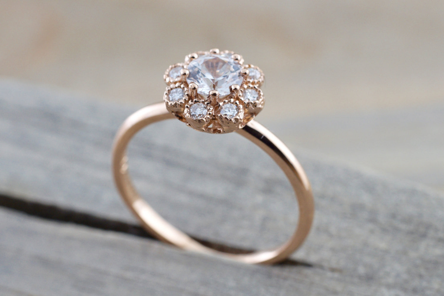 14k Rose Gold Round White Sapphire Diamond Halo Engagement Ring Band Floral Flower - Brilliant Facets