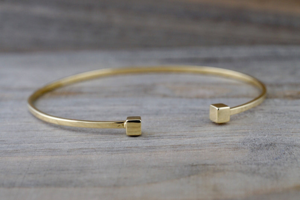 14k Solid Yellow Gold Square Charm Bracelet Dainty Love Gift Fashion Open Cuff Bangle - Brilliant Facets