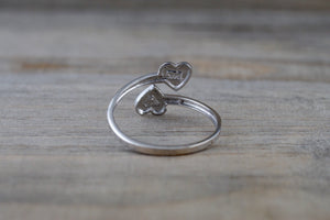 14k White Gold Double Open Heart Adjustable Pinky Knuckle Ring Love Brush Shiny
