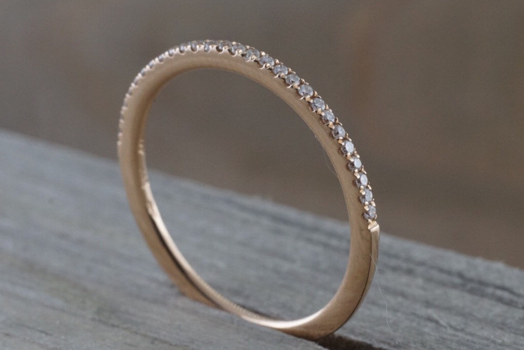 14k Rose Gold Dainty Diamond Half Eternity Band Wedding Anniversary Love Ring Band Thin - Brilliant Facets