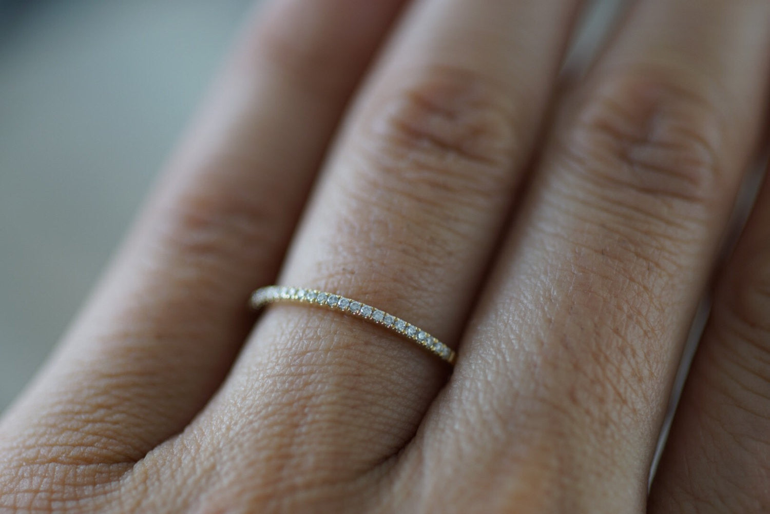 14k yellow Gold Dainty Diamond Half Eternity Band Wedding Anniversary Love Ring Band