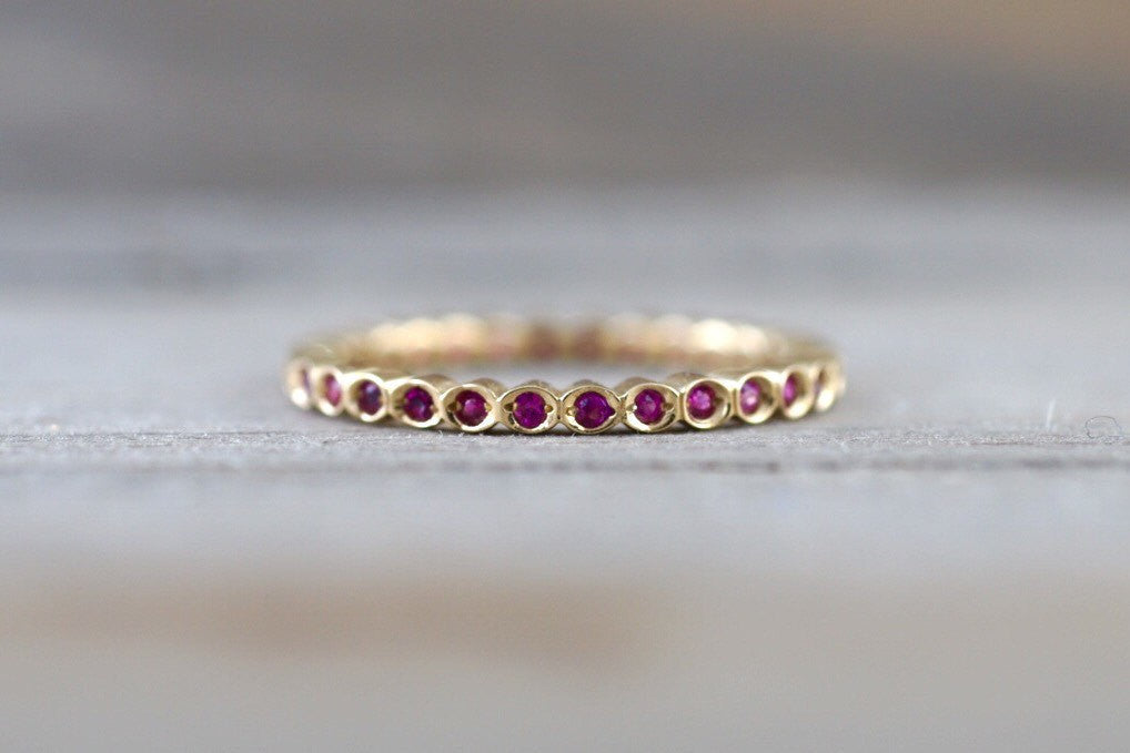 14k Yellow Gold Ruby Bezel Vintage Bezel Full Eternity Band Ring Anniversary