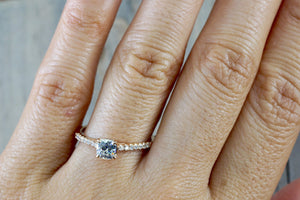 14k Rose Gold Solitaire Cushion Moissanite Diamond Engagement Promise Ring Charles & Colvard 4.5mm - Brilliant Facets