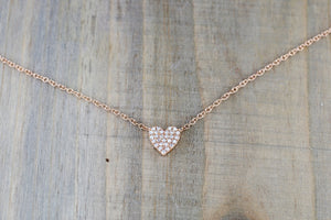 14k Rose Gold Heart Diamond Micro Pave Pendant Charm Multiple Length Chain - Brilliant Facets